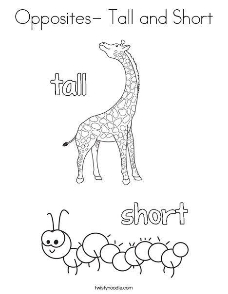 opposites coloring pages preschool opposites tall and short coloring page twisty noodle