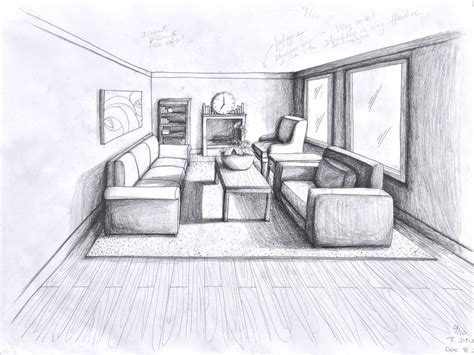 room sketch 1 point perspective room 05 interior pinterest