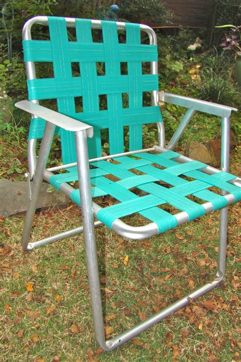 Webbed Lawn Chair by Aluminum Lawn Chair Folding Webbed Rv Teal Vintage