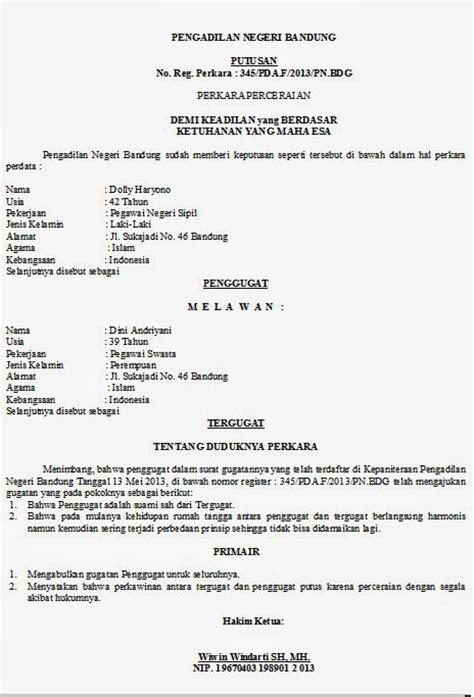 Contoh Format Surat Gugatan Cerai Talak | contoh surat keputusan cerai car interior design