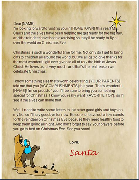 Santa Letters To Print At Home Santa Letter Templates Com Santa Letter Templates Com Free Religious Letter Template
