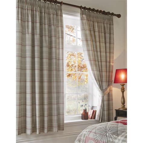 dreams n drapes dreams n drapes tatton red check pencil pleat curtains