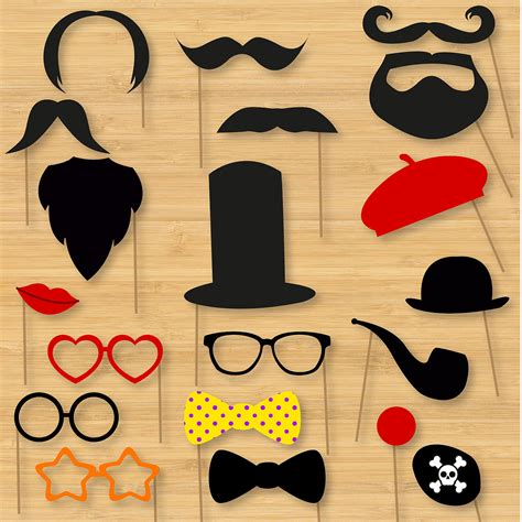 Handmade Photo Booth Props - diy photo booth props classic moustaches beards glasses