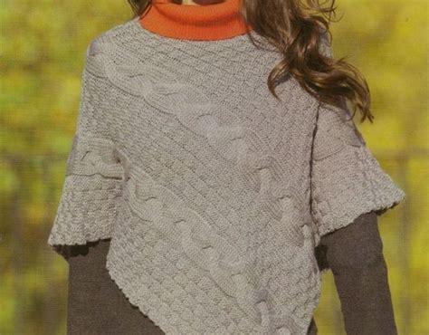 pattern maglia ai ferri poncho a maglia foto e modelli poncho punto treccione