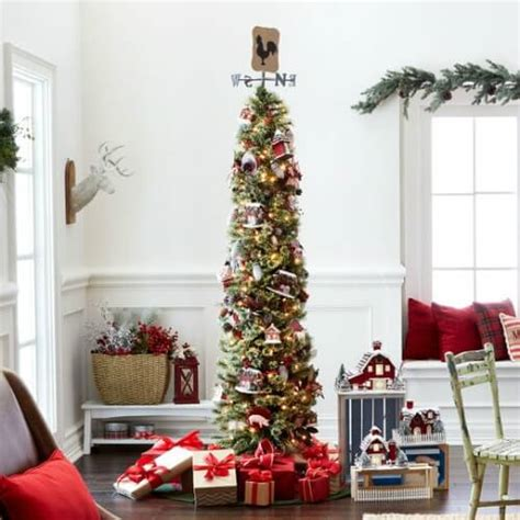 walmart skinny christmas tree 7 ft pre lit pencil artificial tree only 42 94 shipped