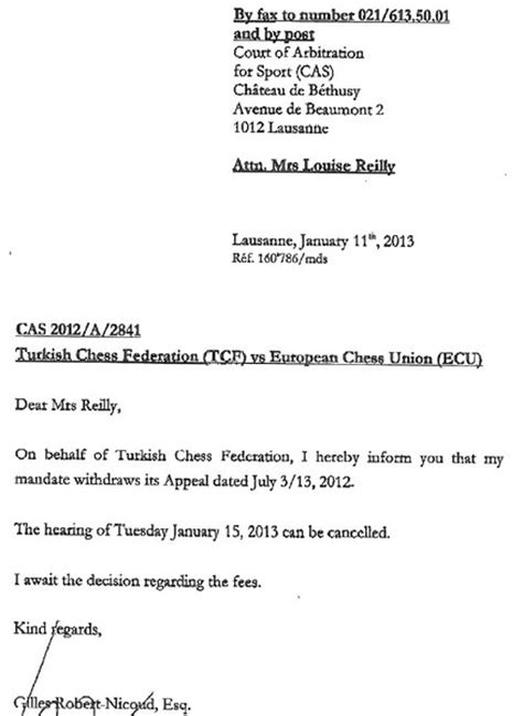 Demand Letter Arbitration The Turkish Chess Federation Withdraws The Request For Arbitration At The Cas Chess News Ru