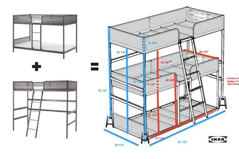 ikea tuffing bunk bed hack triple bunk bed diy ikea hackers ikea hackers