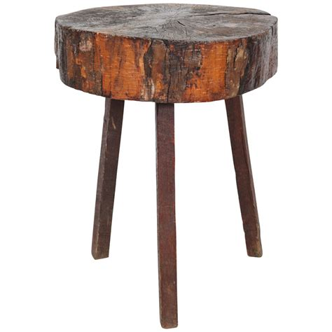 how tall should a side table be rustic wood block tall side table at 1stdibs