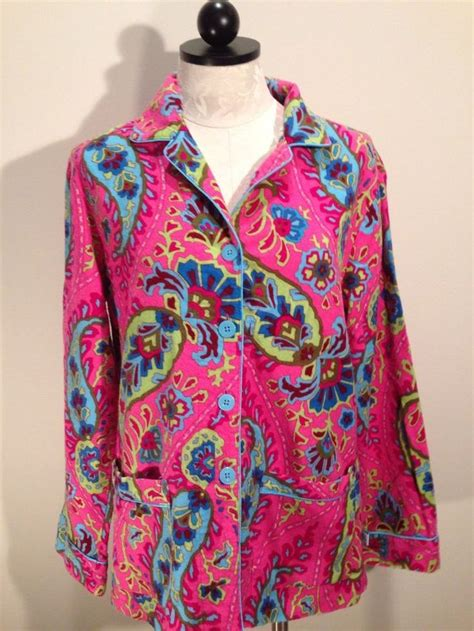 nick and noras nick and nora size m flannel pajama pink paisley pjs 100 cotton lounge top only