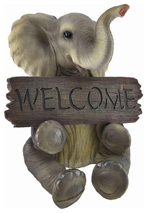 Elephant Garden Decor Adorable Pachy Princess Baby Elephant Welcome Sign Home Decor Contemporary Garden
