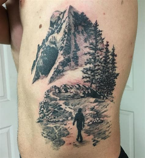 mountain scene tattoo realistic mountain venice designs