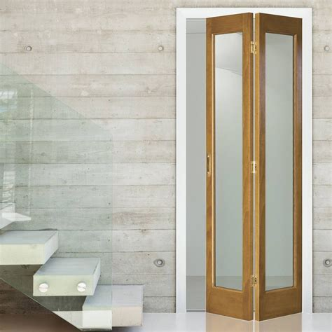 Bi Folding Interior Doors Interior Bifold Door Marston Oak Bi Fold With Clear Flat Safety Glass