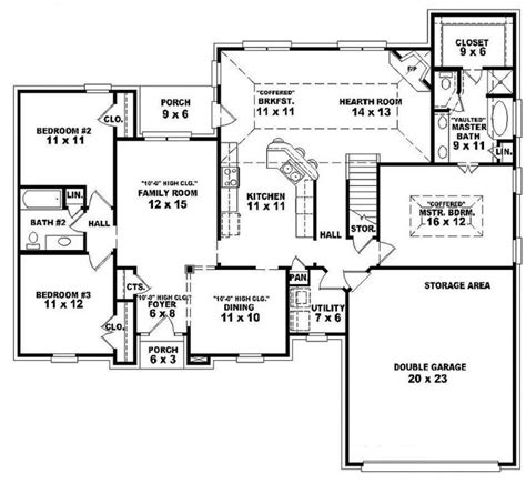One Story Floor Plan Single Story Open Floor Plans One Story 3 Bedroom 2 Bath Traditional Style House