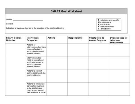 template for goals smart goal worksheet template lesupercoin printables