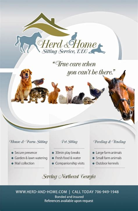 flyer design for local pet sitting company pet services