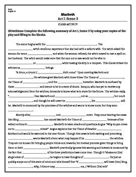 macbeth themes and imagery worksheet macbeth act i scene 3 cloze activity by ms borsi tpt
