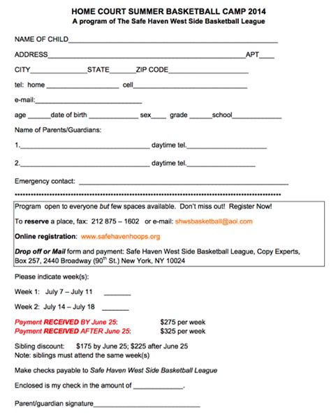 summer c registration form template safe summer basketball c ps 333 manhattan