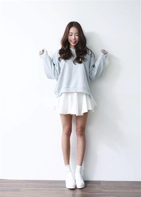 Penbaju Winter sweater light blue sweater ulzzang oversized sweater skirt jfashion jumper shoes