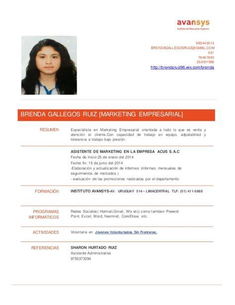 Modelo Curriculum Vitae Uruguay Modelo Cv Avansys 2014 11