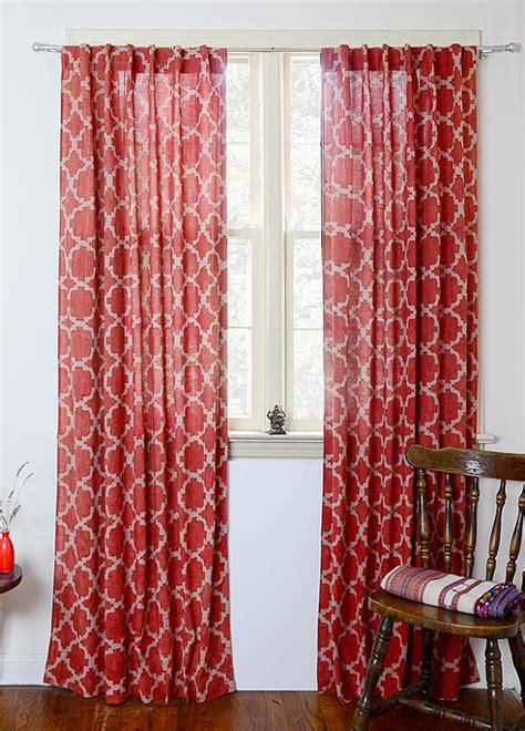 geometric window curtains window curtains red geometric drapes bohemian curtains by