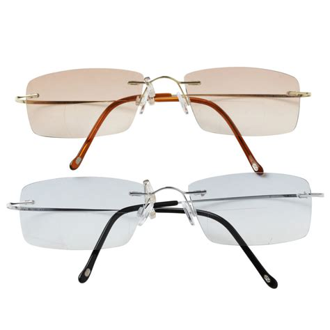 rimless titanium eyewear colored lenses sunglasses bifocal