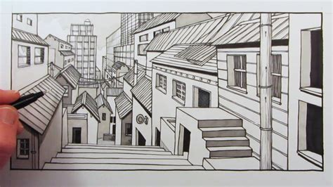 city background drawing how to draw 1 point perspective city background fast