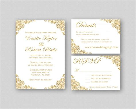 templates for golden wedding invitations wedding invitations gold wedding invitation suite