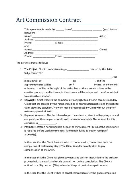 commision contract template gallery of commission based employment contract template