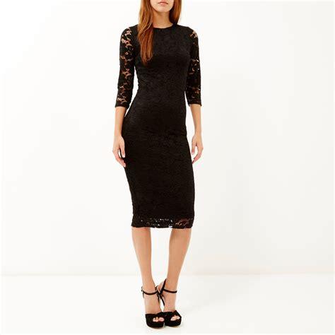 Lace Sleeve Midi Dress river island black lace sleeve bodycon midi dress in black