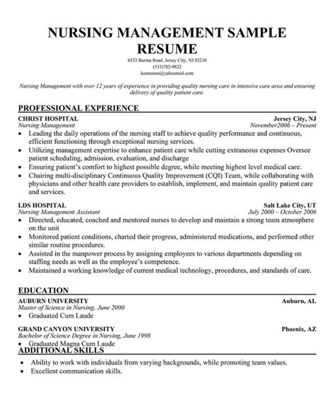 Management Experience Resume by Nursing Management Sle Resume Template Experience