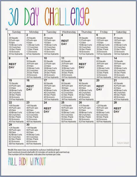 90 day weight loss challenge printable full workout plan free printable 30 day full body fitness challenge abs