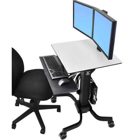 sit stand desk dual monitor sit stand cart ergotron 24 214 085 workfit c dual monitor
