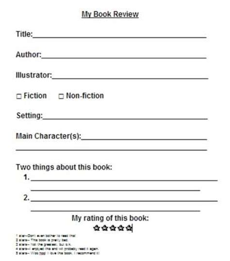 Book Review Card Template by Book Review Forms