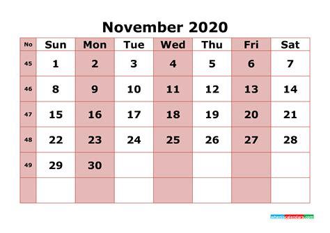 printable november  calendar  week numbers  printable  monthly calendar