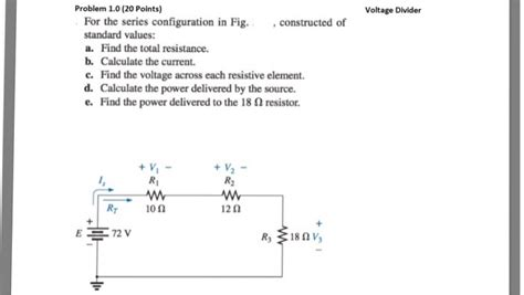 standard value resistor divider calculator problem 1 0 20 points voltage divider for the se chegg