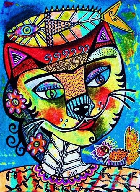 Metal Fish Wall Decor Frida Cat Painting By Sandra Silberzweig