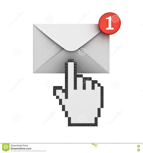 one new cursor clicking e mail notification one new email