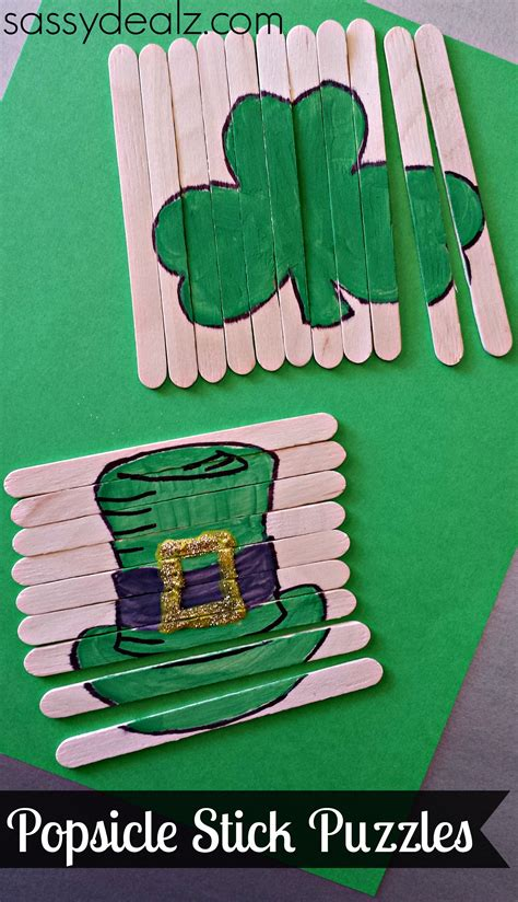 st patricks crafts for st s day popsicle stick craft diy puzzles