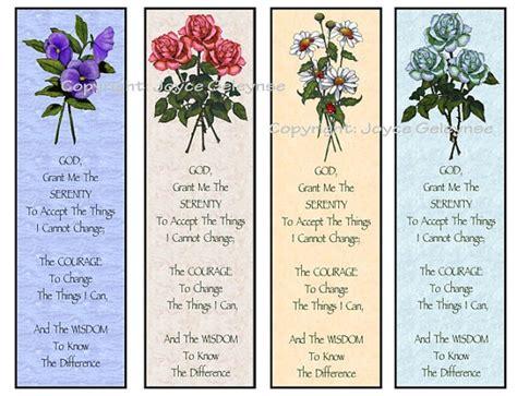 printable prayer bookmarks printable bookmarks flowers serenity prayer instant