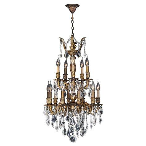 Bronze Chandeliers With Crystals Worldwide Lighting Versailles Collection 15 Light Antique