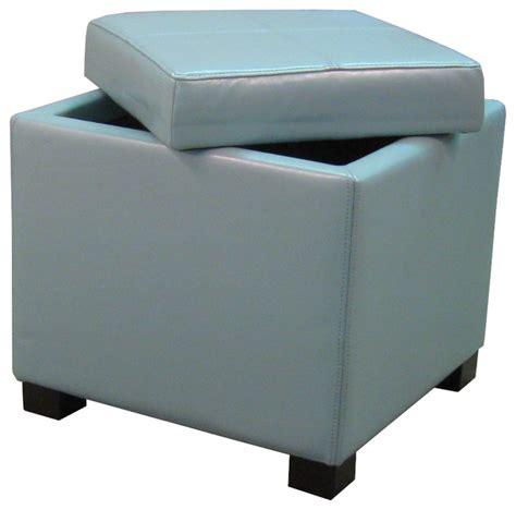 Blue Square Ottoman Venzia Bonded Leather Square Ottoman Blue Modern