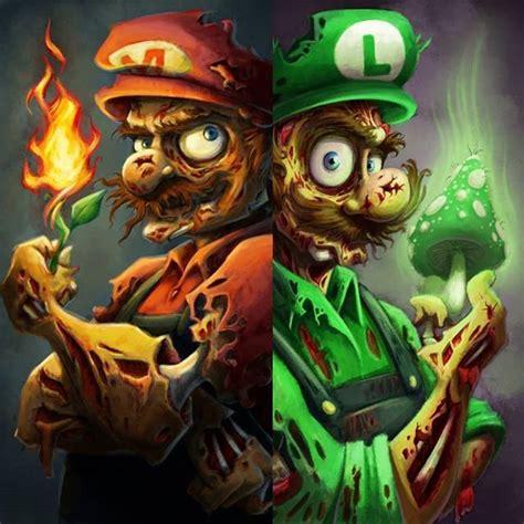 zombie mario  luigi  love  cartoon art mario