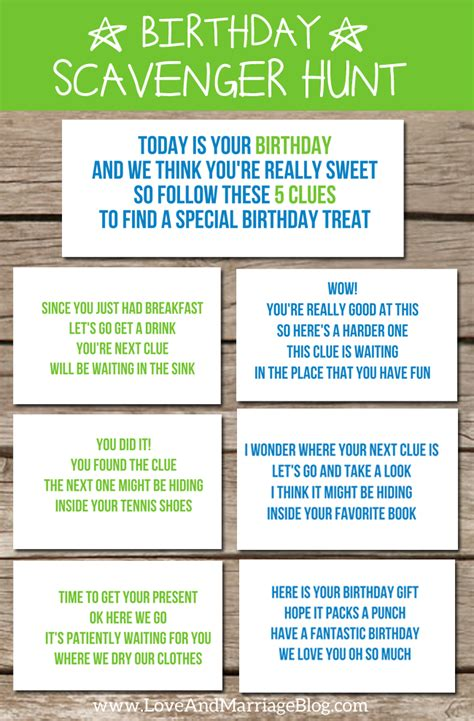 idea hunt birthday scavenger hunt with free printables birthday