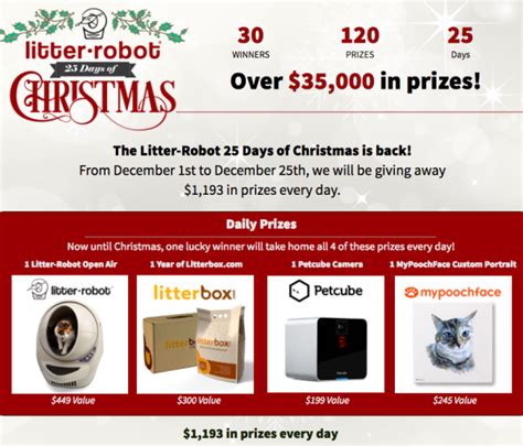 25 Days Of Christmas Sweepstakes - enter to win in litter robot s 25 days of christmas 35 000 in prizes