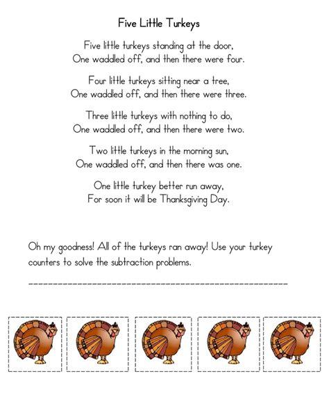 printable turkey poem thanksgiving five little turkeys poem thanksgiving ideas