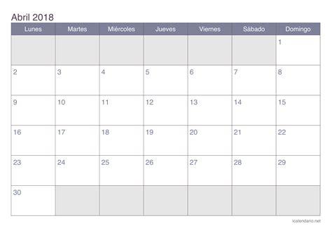 calendario  abril   calendar printable  holidays list
