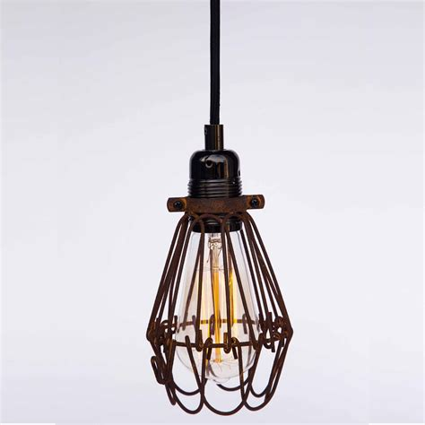Chandelier And Pendant Light Sets Industrial Antique Brass Cage Wire Hanging Pendant Light Handmade With Switch Edison 100