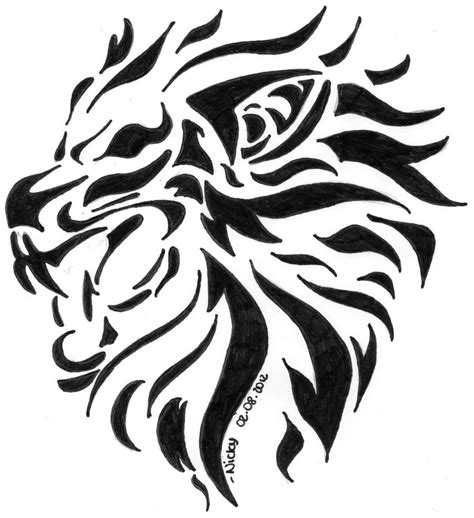 black lion tattoo designs black tribal design