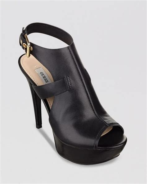 guess black high heels guess open toe sandals ofria high heel in black lyst