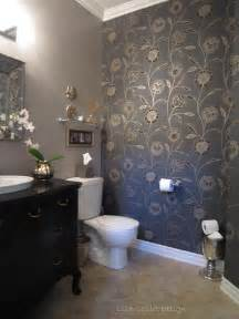 designer bathroom wallpaper powder room transformation